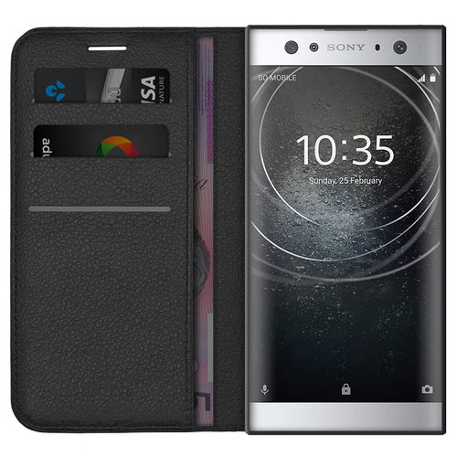 Leather Wallet Case & Card Holder Pouch for Sony Xperia XA2 Ultra - Black